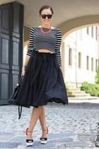 stripped Primark shirt - black midi asos skirt - carrot orange Ravel wedges