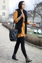 mustard Primark dress - black studded Choies boots - black studded Chicwish bag