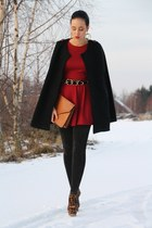 black romwe cape - brick red asos dress - brown bag - brown Kandee heels