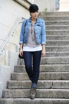 light brown Nellycom boots - navy jeans - blue Primark jacket - black New Yorker