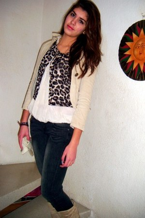 blazer - boots - jeans - sweater - blouse