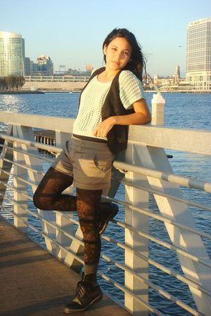 green Forever 21 sweater - brown Forever 21 shorts - black Forever 21 vest - bla
