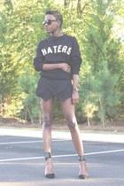 Zara shorts - Forever 21 sweatshirt - Zara heels