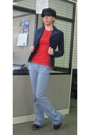 red Old Navy top - blue H&M blazer - blue kohls pants - red doc martens shoes -