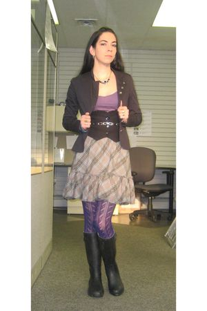 black jacket - black Rue 21 vest - purple Old Navy top - gray Old Navy skirt - p