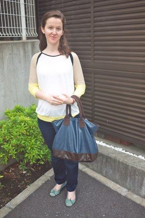 navy Zara bag - navy Mango pants - aquamarine Bridgit Birkin flats