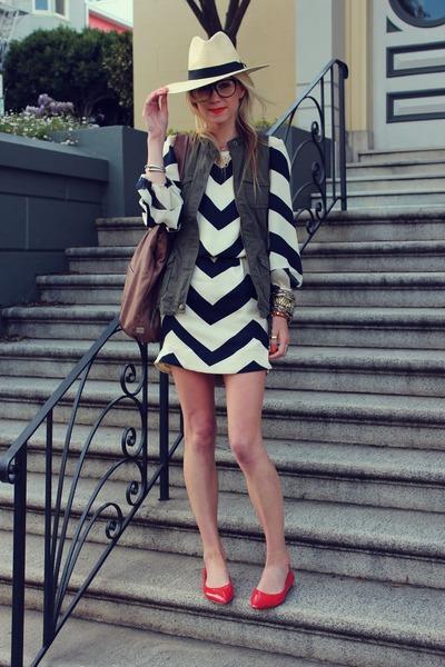 dvf dress - H&M hat - Kooba bag - Old Navy vest - BR flats