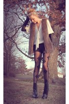 All Saints gloves - Alice  Olivia shorts - Zara blouse - House of Holland tights