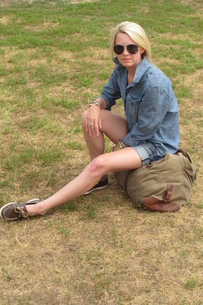 Burberry sunglasses - Sperry Topsiders shoes - DIY cut offs shorts