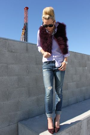 Forever 21 vest - Prada shoes - banana republic jeans