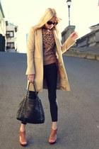 Zara jacket - Zara sweater - Chanel purse - Chloe sunglasses - Jcrew pants