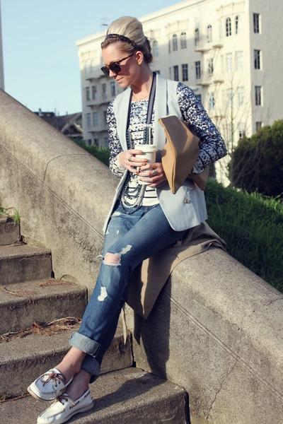 sperry flats - banana republic jeans - aa purse - Karen Walker sunglasses