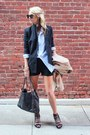 Madewell-blazer-chanel-bag-alice-olivia-shorts-karen-walker-sunglasses-