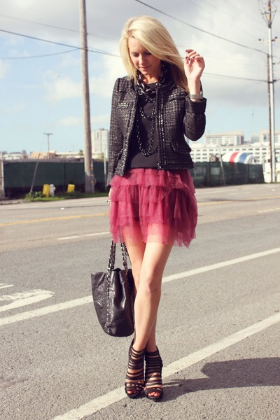 Zara jacket - loeffler randall shoes - Crew Cuts skirt