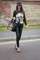 black Celine bag - black Primark sweatshirt
