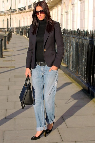 blue D&G jeans - dark gray Gucci shoes - navy Zara blazer