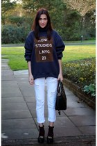 dark green new look shoes - white Zara jeans - blue Sheinside jumper