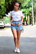 sky blue high waisted PERSUNMALL shorts - white white Celine top