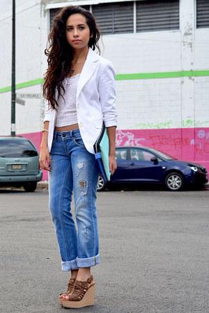 white Bershka blazer - blue boyfriend jeans Pull & Bear jeans