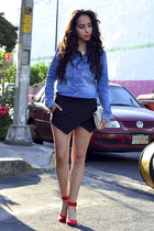 red Zara heels - black skort AHAISHOPPING shorts - blue denim Zara blouse