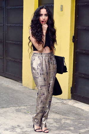 black clutch PERSUNMALL bag - gold metallic Isabel Marant pants