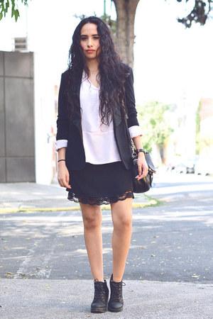 black lace Zara dress - light pink silk Zara blouse