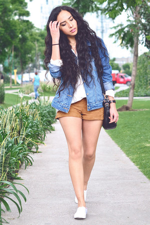 navy denim Levis jacket - tawny suede Zara shorts - white white asos sneakers