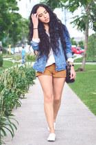 navy denim Levis jacket - tawny suede Zara shorts - white white asos sneakers