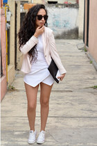 white asymmetrical Zara skirt - light pink blazer Zara blazer