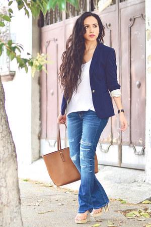 navy flare Zara jeans - navy blazer Zara blazer