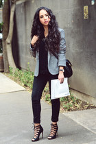 black skinny jeans pull&bear pants - charcoal gray gray Zara blazer