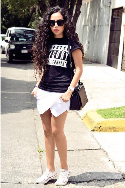 black leather Zara bag - white skort Zara shorts