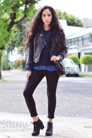 navy knit Mango sweater - black Bershka boots - black faux leather Zara jacket