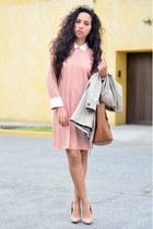 light pink collar Front Row Shop dress - beige trench coat Zara coat