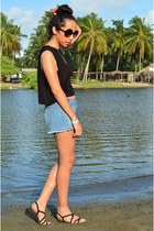 black Ebay sunglasses - blue vintage shorts - black Oysho sandals