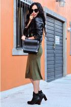 black leather Zara boots - black leather Zara jacket - black leather Zara bag