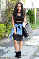 black mesh asos top - black crop top asos top - blue denim Zara shirt