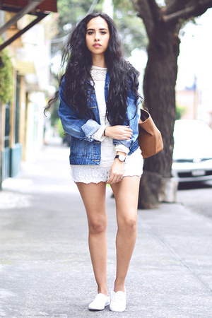 white white asos sneakers - navy denim Levis jacket - ivory lace OASAP shorts