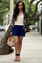 navy Zara jacket - carrot orange coach bag - navy Zara shorts - black Zara heels