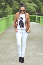 black black boots GoJane boots - light blue skinny jeans Zara jeans