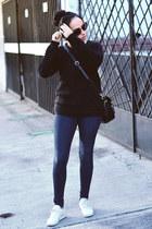 black black Forever21 sweater - navy skinny jeans Zara jeans