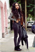 charcoal gray high waisted Bershka jeans - black leather Zara jacket