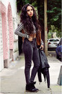 Charcoal-gray-high-waisted-bershka-jeans-black-leather-zara-jacket