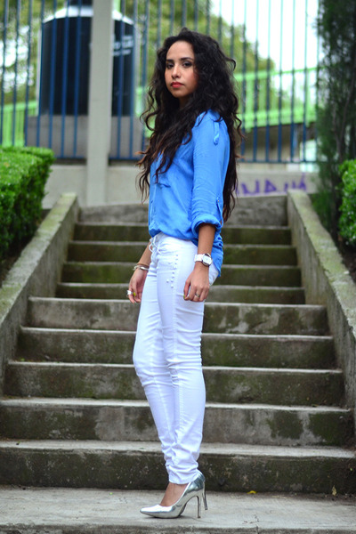 blue silk Zara blouse - white studded Bershka pants