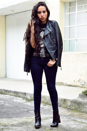 black leather jacket Zara jacket - black ankle boots Zara boots