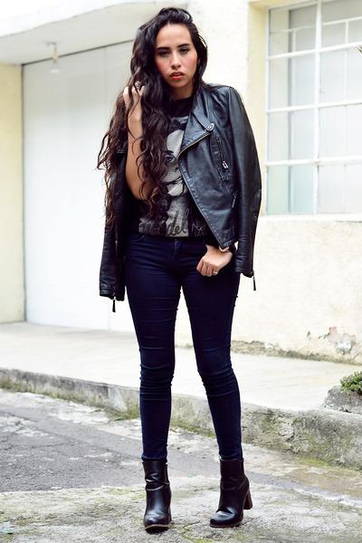 black leather jacket Zara jacket - black ankle boots Zara boots