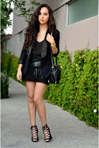 black black Zara blazer - black crossbody Zara bag - black black Zara top