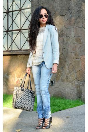 heather gray blazer Zara blazer - blue skinny jeans pull&bear jeans