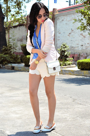 white mini Zara bag - light pink pastel Zara blazer