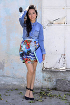 blue tropical print Zara skirt - sky blue Zara bag - black Zara heels